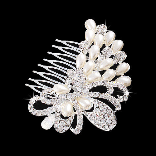 Bridal Wedding Jewelry Crystal Rhinestone Elegant Teardrop Pearl Hair Comb Pin