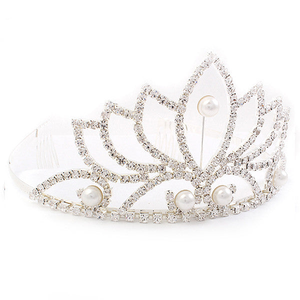 Bridal Wedding Jewelry Crystal Rhinestone Pearl Beautiful Classic Hair Tiara