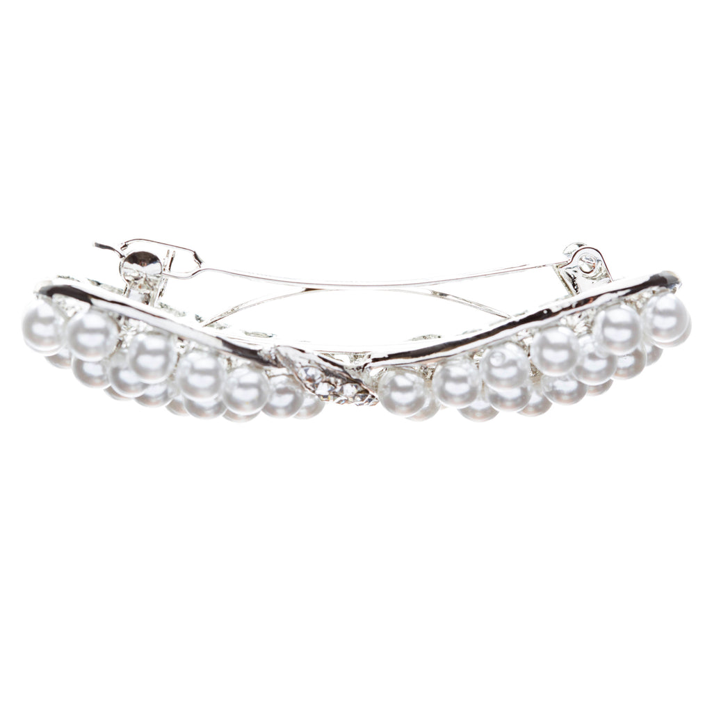 Bridal Wedding Jewelry Crystal Pearl Stunning Ribbon Bow Hair Barrette Silver