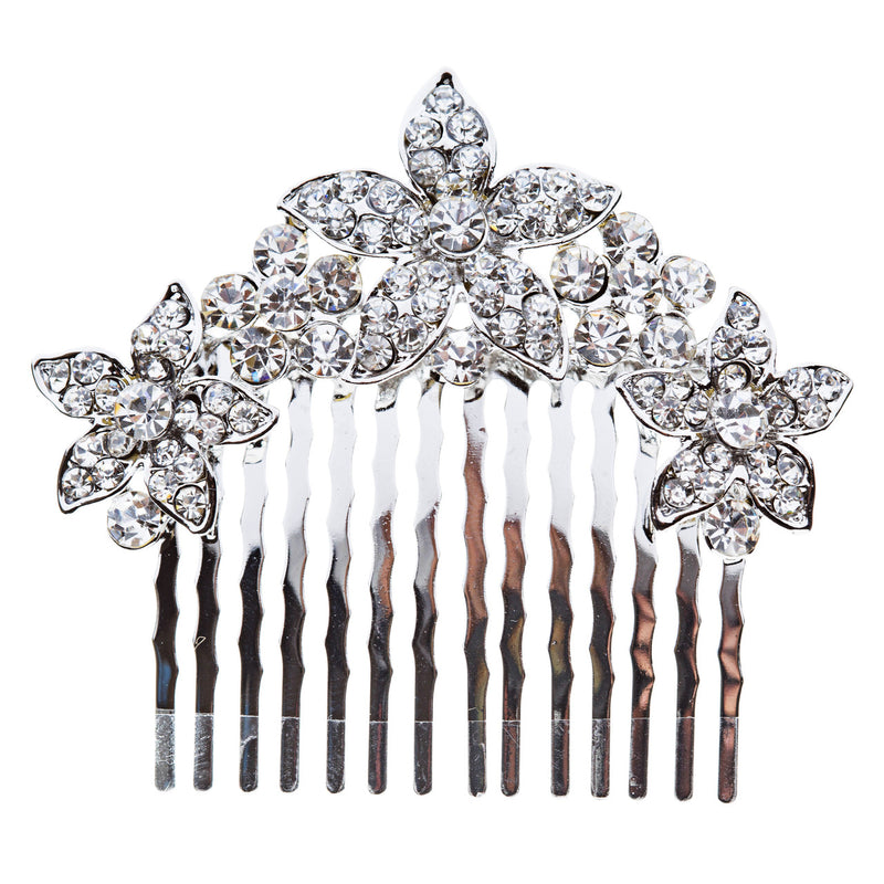 Bridal Wedding Jewelry Crystal Rhinestone Multi Flowers Hair Comb Clear Silver