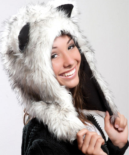 Faux Fur Plush 3D Half Animal Hood Hat Ear Flaps White Gray Husky