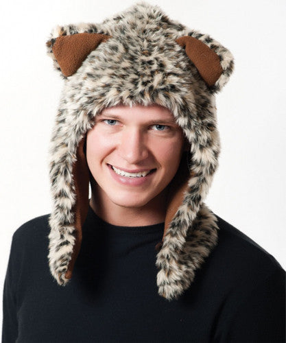 Faux Fur Plush 3D Half Animal Hood Hat Ear Flaps Leopard