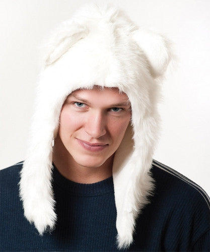 Faux Fur Plush 3D Half Animal Hood Hat Ear Flaps White Polar Bear
