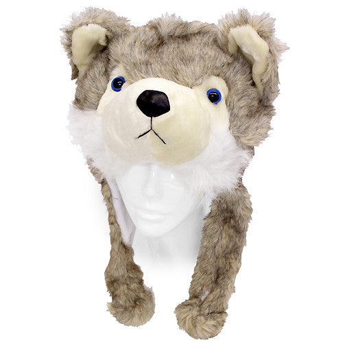 Plush Soft 3D Animal Trooper Trapper Hat Ear Flaps Fleece Liner Beige Gray Fox
