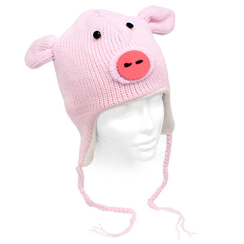 Knitted 3D Animal Trooper Trapper Hat Ear Flaps Braided Tassels Pink Pink