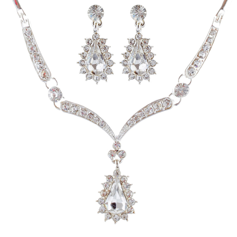 Bridal Wedding Jewelry Set Crystal Rhinestone Link Chain Teardrop Necklace SV