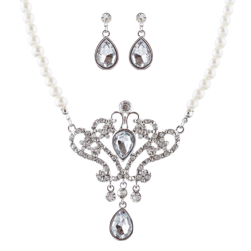 Bridal Wedding Jewelry Set Crystal Rhinestone Pearl Dazzle Royal Crest Necklace