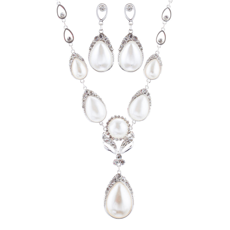Bridal Wedding Prom Jewelry Set Crystal Rhinestone Pearl Brilliant J411 SV White