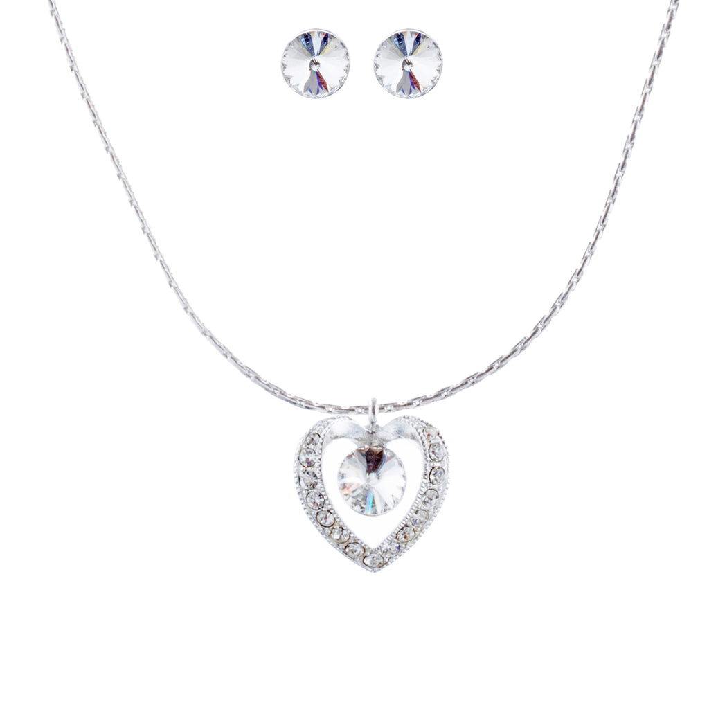 Bridal Wedding Jewelry Crystal Rhinestone Heart Necklace J413