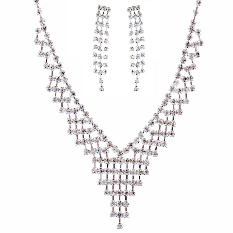 Bridal Wedding Jewelry Crystal Rhinestone Dazzle V Drop Necklace Set J661 Silver