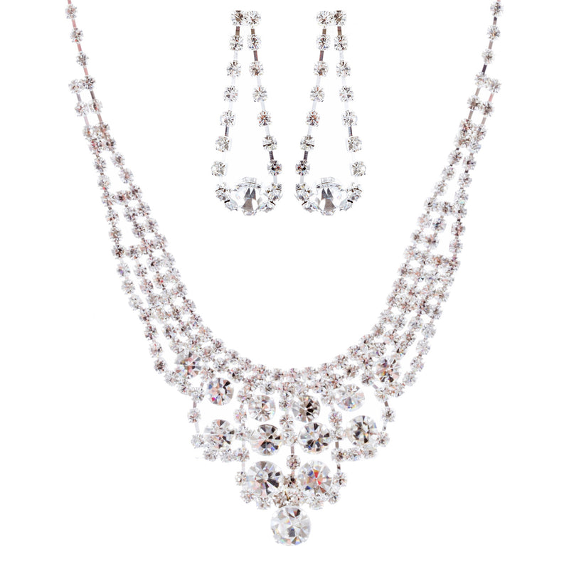 Bridal Wedding Jewelry Crystal Rhinestone Dazzle Bib Drop Necklace Set J662 SV