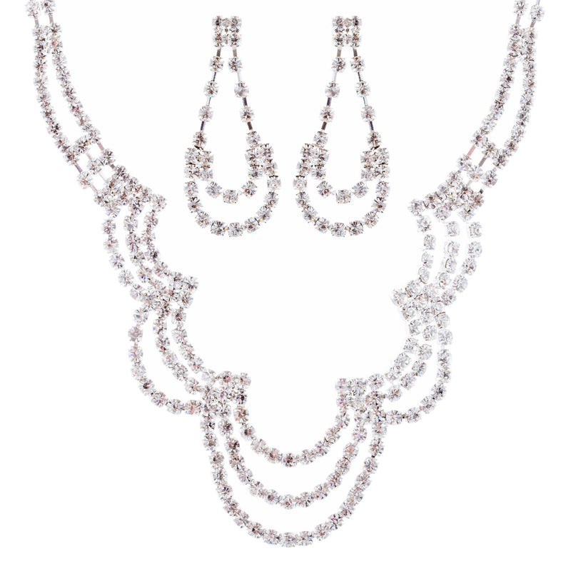 Bridal Wedding Jewelry Crystal  Rhinestone Beautiful U Drop Necklace Set J667 SV