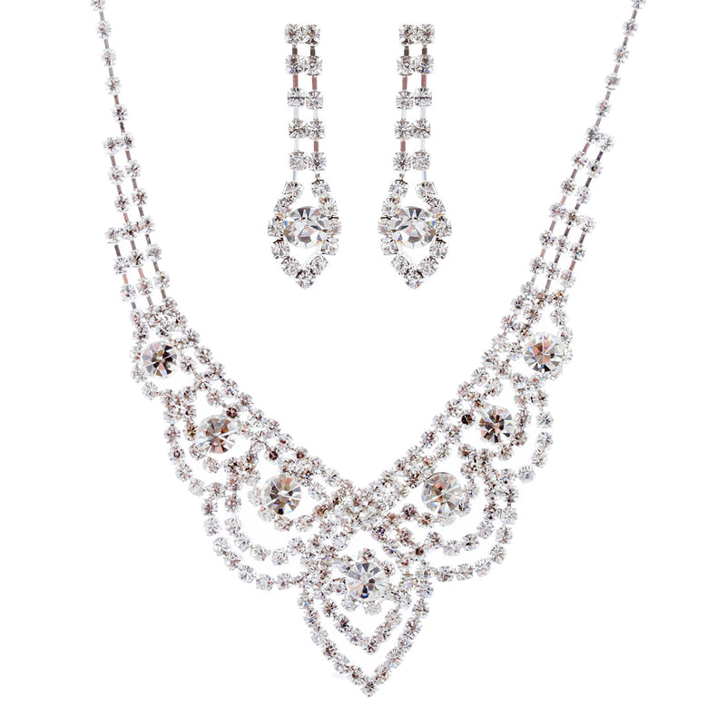 Bridal Wedding Jewelry Crystal Rhinestone Classic Bib Drop Necklace Set J674 SV
