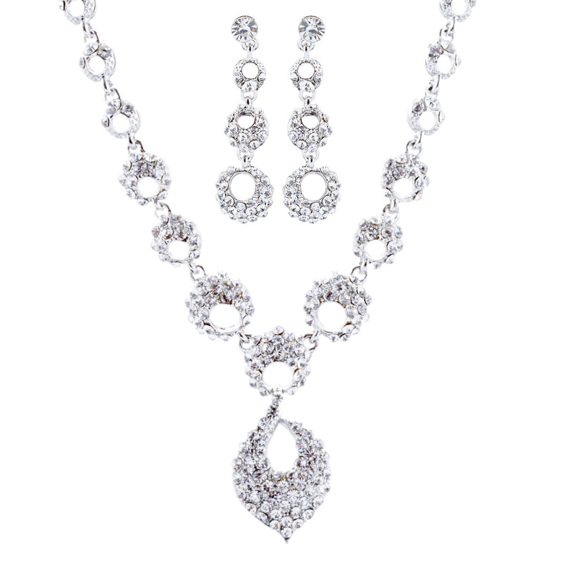 Bridal Wedding Jewelry Crystal Rhinestone Classic Necklace Set J714 Silver