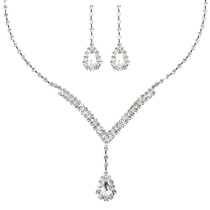 Bridal Wedding Jewelry Set  Necklace Earring Crystal Rhinestone V Drop J738 SV