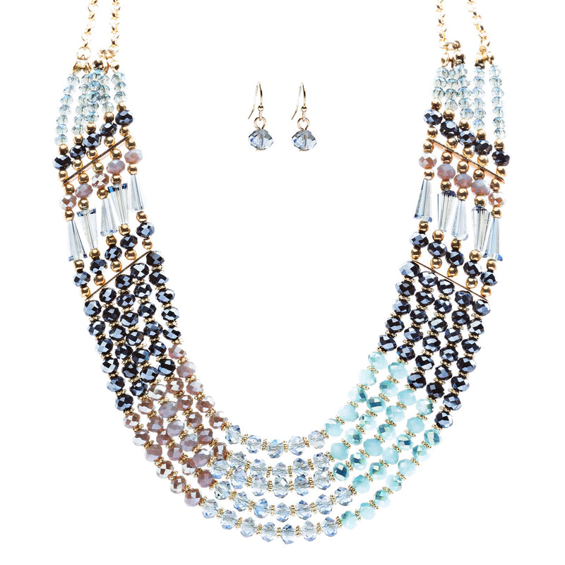 Beautiful Multi Strands Layered Beads Statement Jewelry Set JN200 Gold Blue