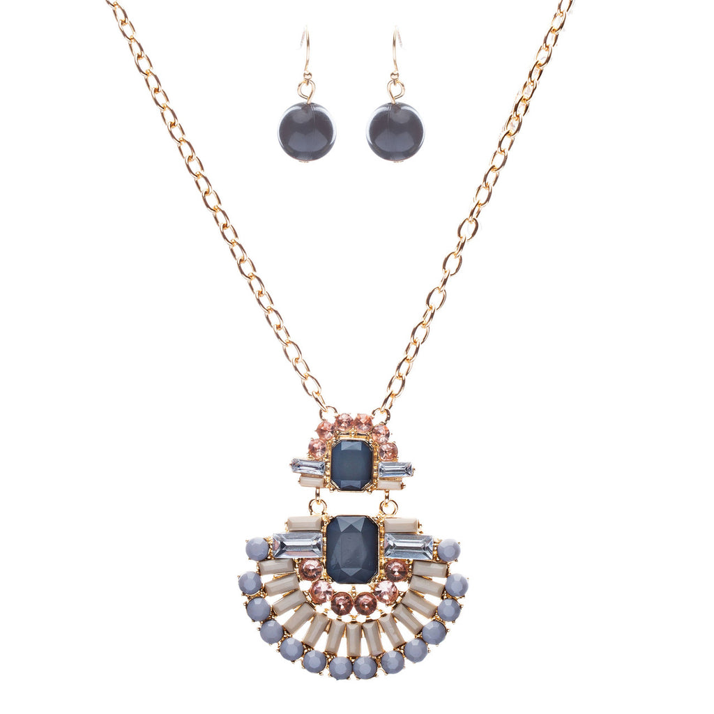 Unique Fashion Crystal Rhinestone Fan Charm Necklace And Earrings JN222 Gray