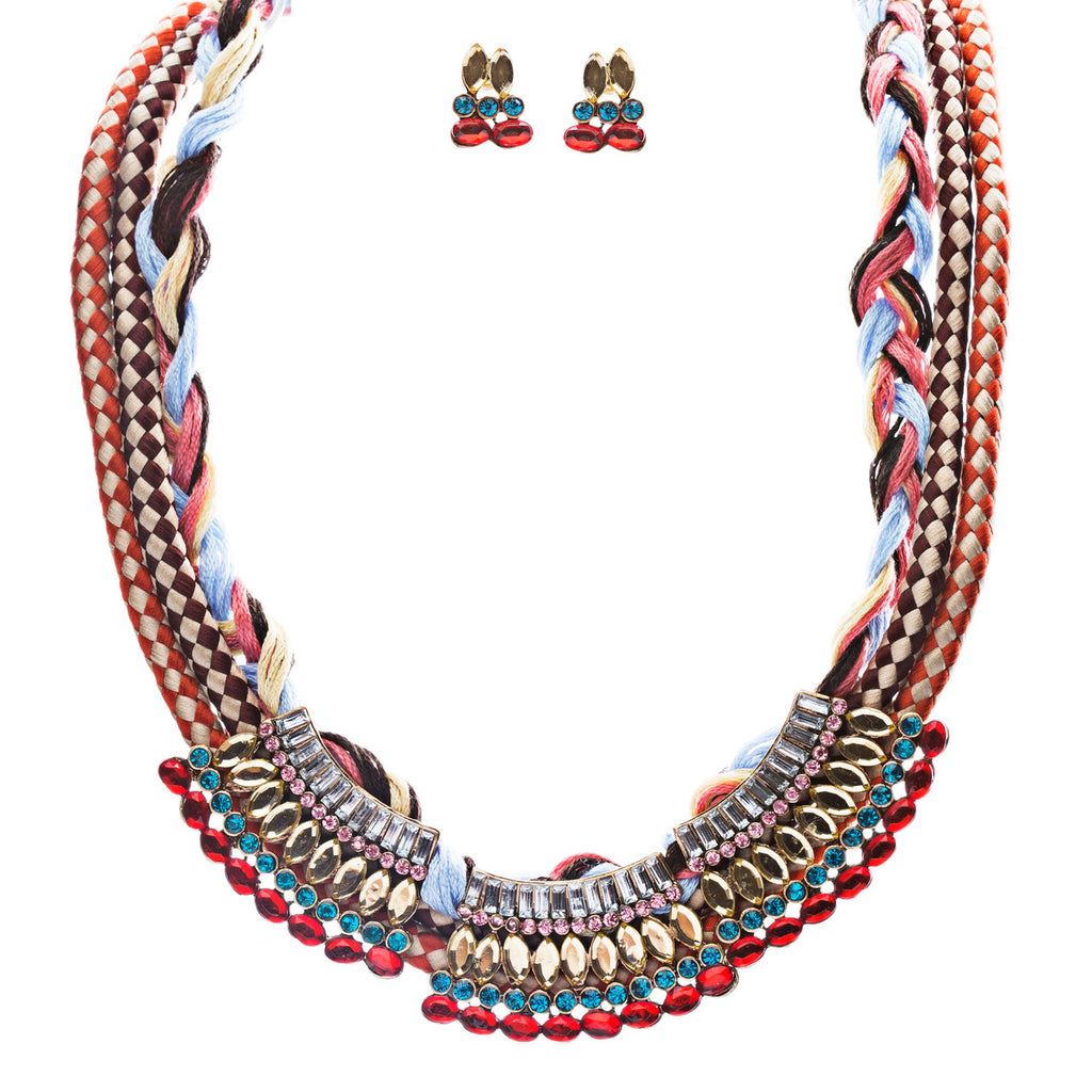 Tribal Fashion Crystal Rhinestone Fancy Braided Colorful Necklace JN225 Red