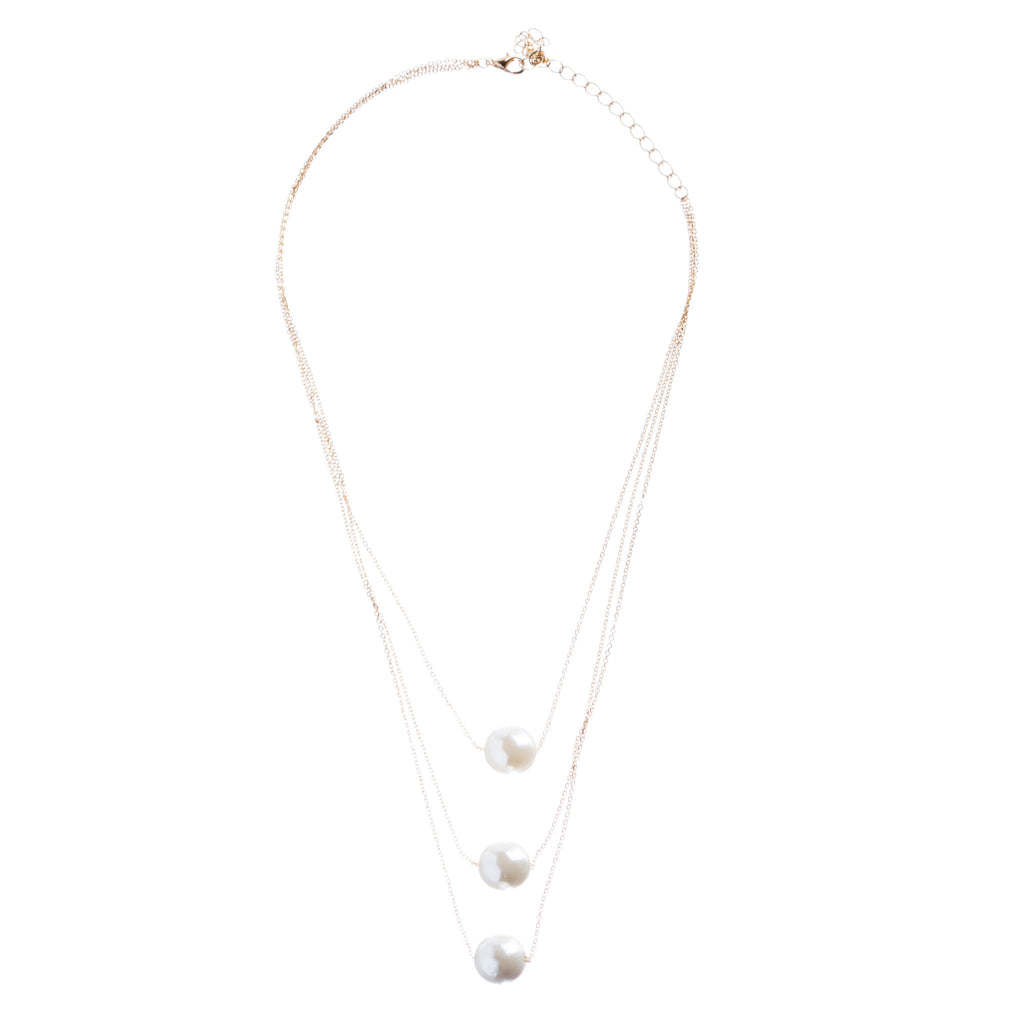 Gorgeous Layered Chains Pearl Fashion Necklace JN267 Gold White