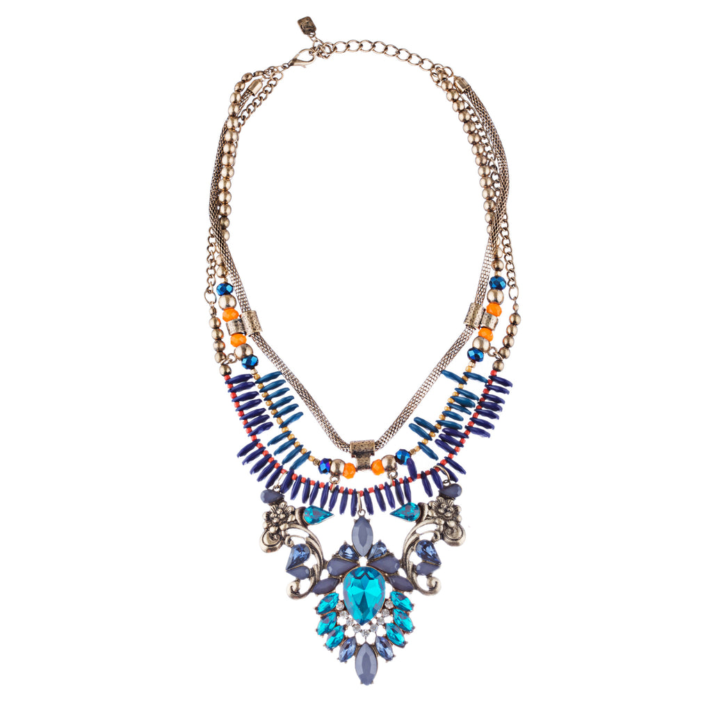 Stunning Magnificent Bead Crystal Rhinestone Statement Necklace Set JN269 GD BL