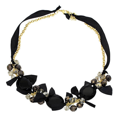 Handmade Crystal Satin Ribbon Bow Necklace Black