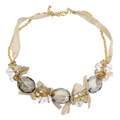 Handmade Crystal Satin Ribbon Bow Necklace Gold