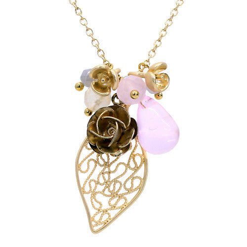 Floral Charm Tear Drop Crystal Handmade Necklace Pink