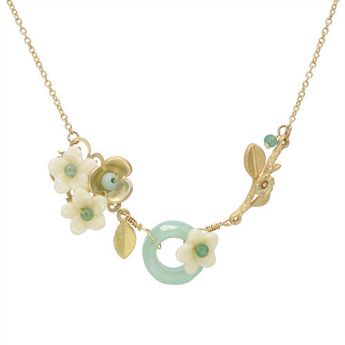 Garden Flower Leaf Crystal Bead Handmade Necklace Green