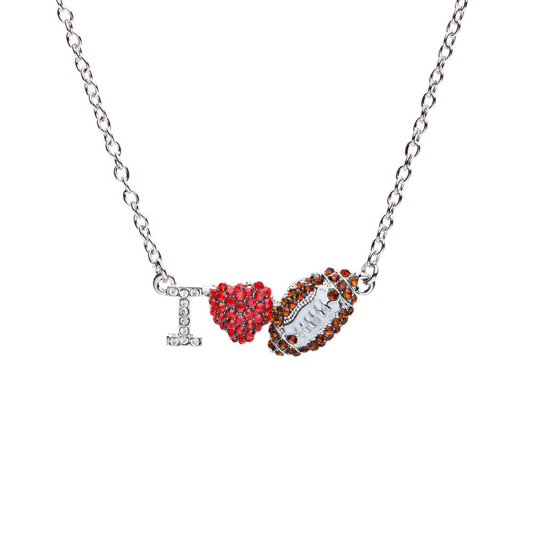 Sport Jewelry I Love Football Crystal Rhinestone Heart Fashion Necklace Silver