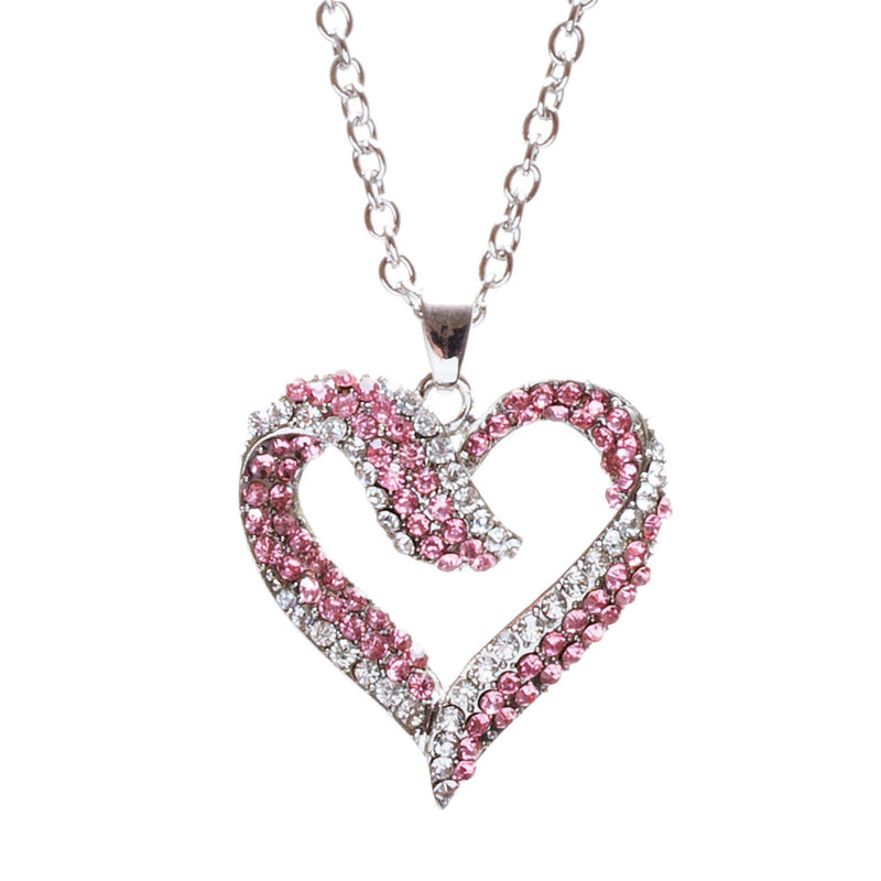 Valentines Jewelry Crystal Rhinestone Beautiful Heart Pendant Necklace N90 Pink