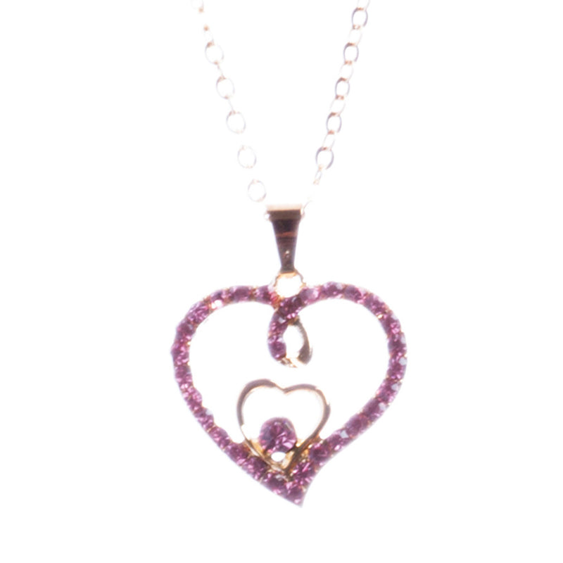 Valentines Jewelry Crystal Rhinestone Gorgeous Hearts Necklace N91 Pink