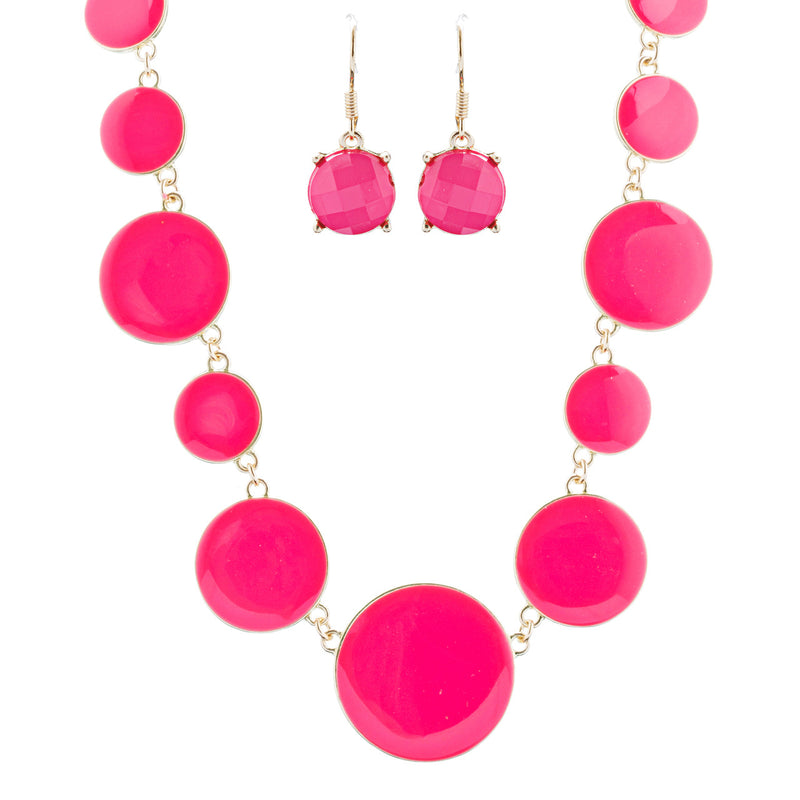 Beautiful Simple Design Bold Statement Necklace Earrings Set N105 Gold Pink