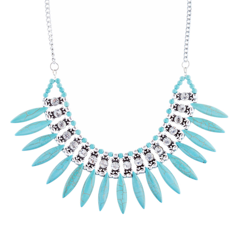 Delightful Bib Style Crystal Stone Statement Necklace N107 Turquoise