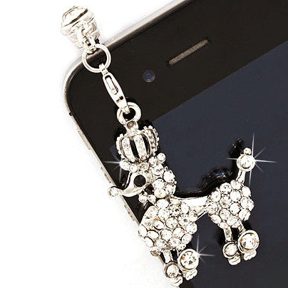 Earphone Dustproof Plug Stopper Phone Ear Cap Crystal Rhinestone Poodle Silver