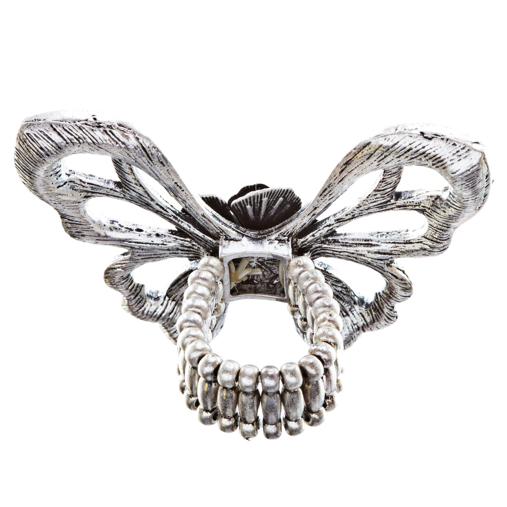 Flower Accented Butterfly Stretch Ring Burnish Silver