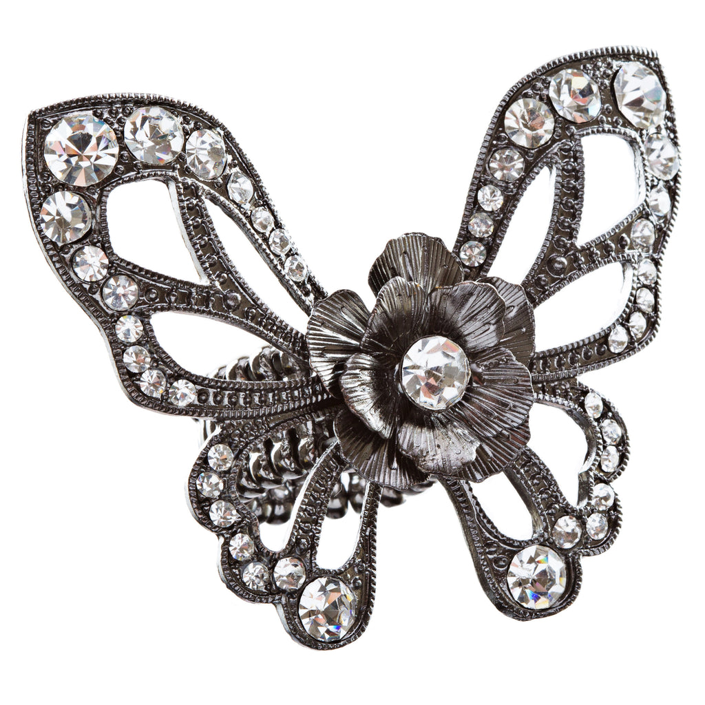 Flower Accented Butterfly Stretch Ring Clear Hematite