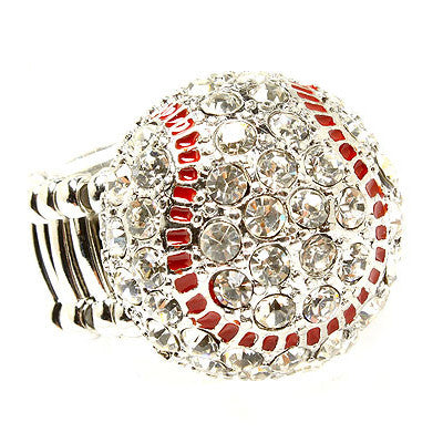 Sport Baseball Crystal Rhinestone 20mm Stretch Adjustable Ring Silver Clear