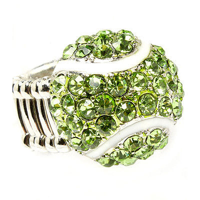 Sport Tennis Ball Crystal Rhinestone 20mm Stretch Adjustable Ring Silver Green