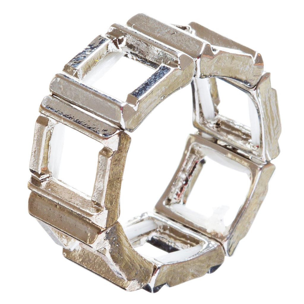 Fashion Statement Square Shaped Hollow Design Stretch Fashion Ring R214 Silver