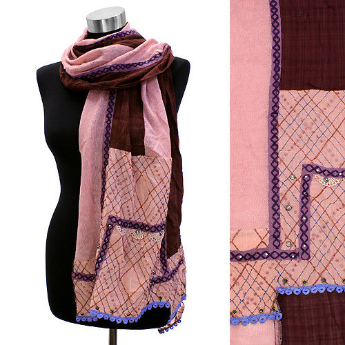 Square Corner Hand Crafted Fashion Design Scarf Pink