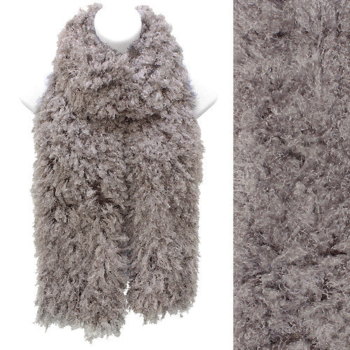 Soft Luxurious Synthetic Faux Curly Fur Long Puffy Scarf Gray Taupe