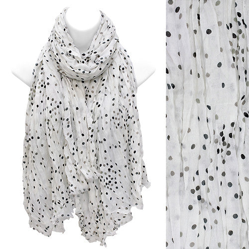 Multi Color Dot Print Wrinkle Shawl Fashion Scarf White