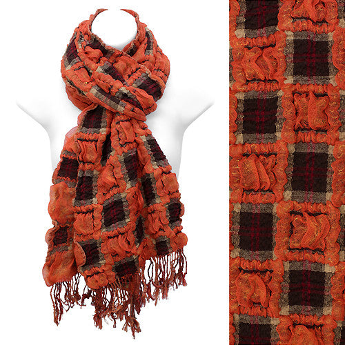 Plaid Block Check Pattern Design Double Side Muffler Scarf Brown Rust