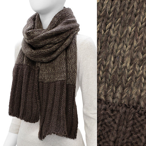 Duo Tone Simple Knitted Cold Weather Long Fashion Scarf Brown