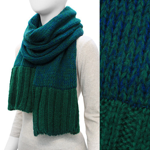 Duo Tone Simple Knitted Cold Weather Long Fashion Scarf Green