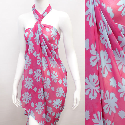 Beach Sarong Pareo Wrap Flower Fuschia Turquoise
