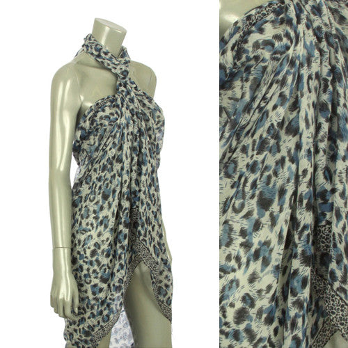 Beach Sarong Pareo Shawl Wrap Leopard N Border Blue
