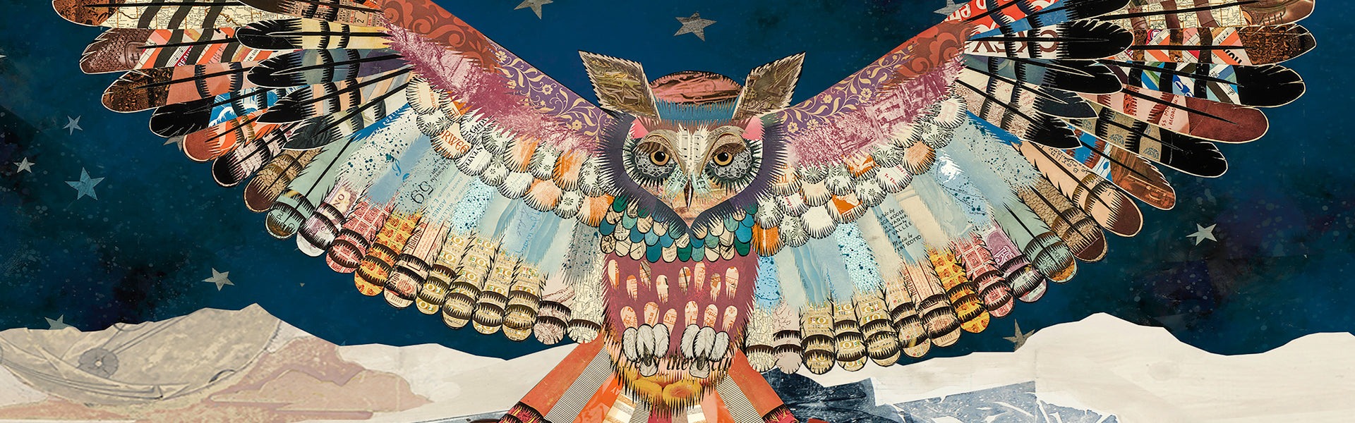 paper collage of owl made with thousands of pieces of cut paper.