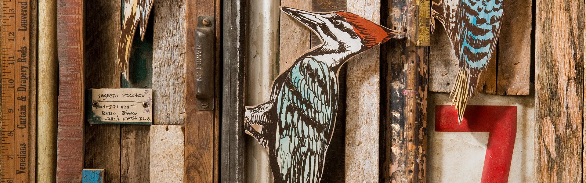 Dolan Geiman Woodpecker Found Object Assemblage