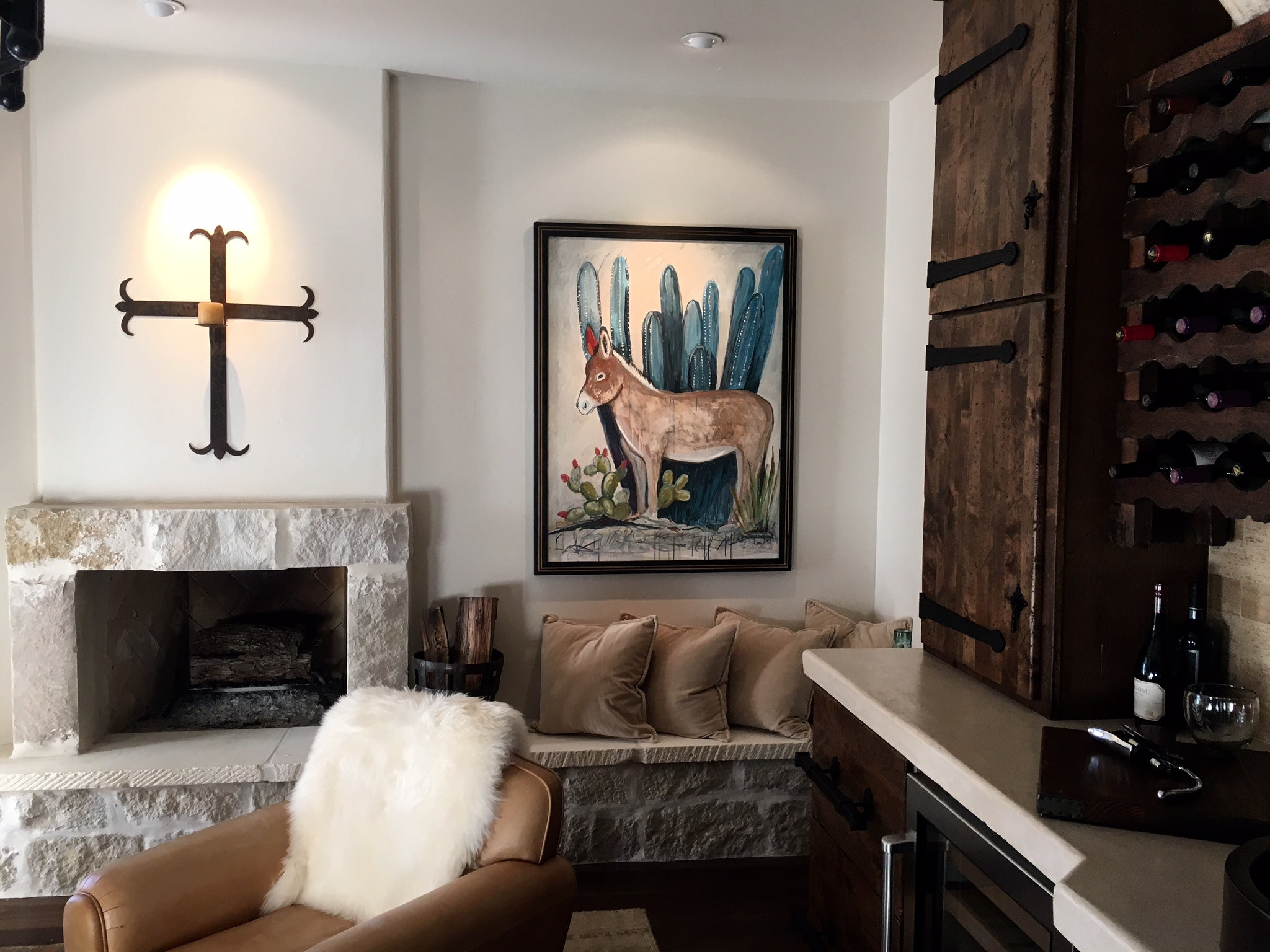 Burro Painting For Contemporary Adobe Style Home